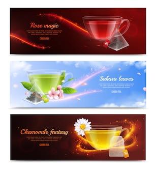 Banner realista de bolsa de té con hojas de sakura rosa mágica y titulares de fantasía de manzanilla ilustración vectorial