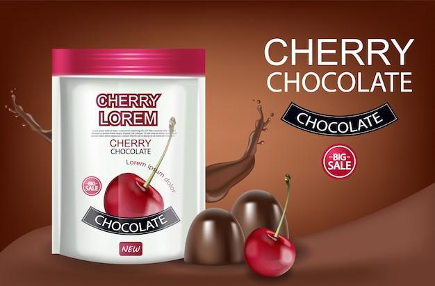Banner realista de cereza y chocolate.