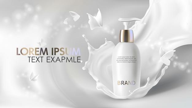 Banner realista de crema cosmética