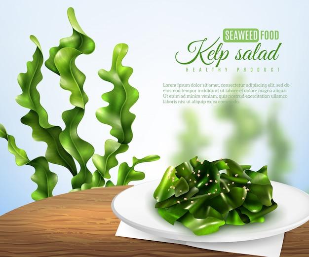 Banner realista de ensalada de algas marinas