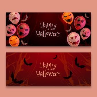 Banner realista feliz halloween con globos y murciélagos