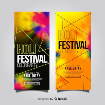 Banner realista de holi festival