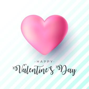 Banner realista de san valentín con gran corazón rosa