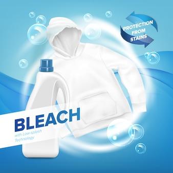 Banner realista de sudadera con capucha blanca sucia con pompas de jabón sobre fondo azul