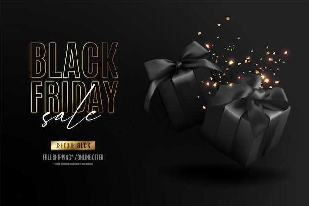 Banner realista de viernes negro con regalos y confeti.
