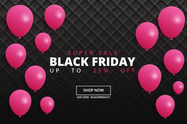 Banner realista de viernes negro con regalos y globos.