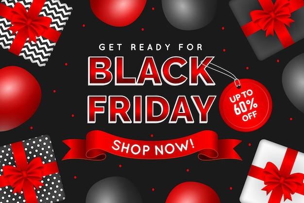 Banner realista de viernes negro con regalos.