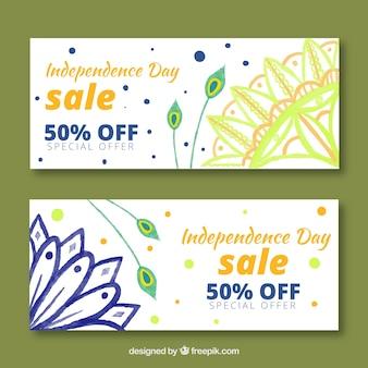 Banner rebajas acuarela día de la independencia de la india
