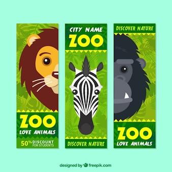 Banner de rebajas de animales salvajes para visitar el zoo