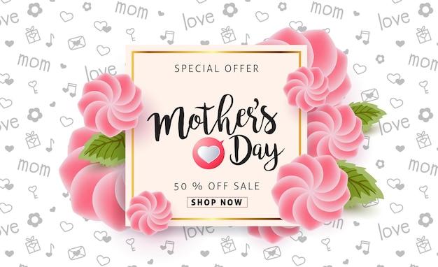 Banner de rebajas del día de la madre con hermosas flores de colores