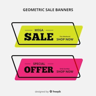 Banner rebajas geométricos coloridos
