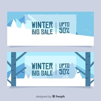 Banner rebajas invierno paisaje geométrico