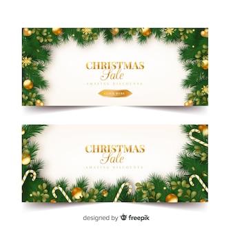 Banner rebajas navidad adornos dorados