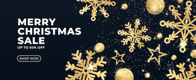 Banner de rebajas de navidad con estrellas doradas brillantes.