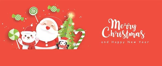 Banner de rebajas de navidad con un lindo santa claus y amigos en estilo de corte de papel.