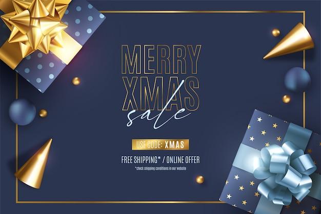 Banner de rebajas de navidad realista con adornos elegantes