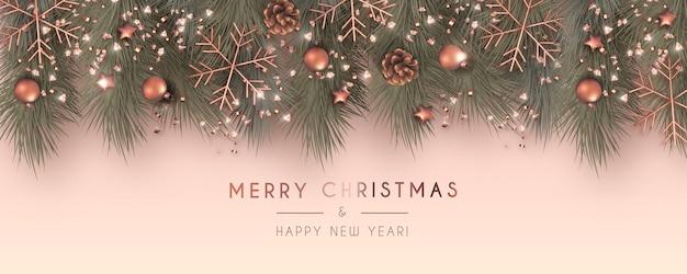 Banner de rebajas de navidad realista con adornos de rosas doradas