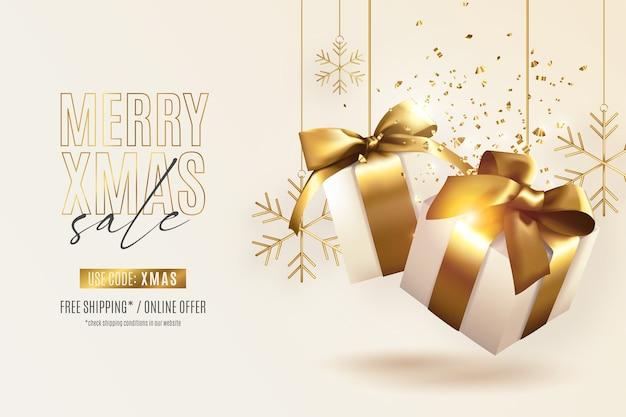 Banner de rebajas de navidad realista con regalos dorados