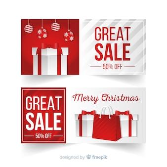Banner rebajas navidad regalo plano
