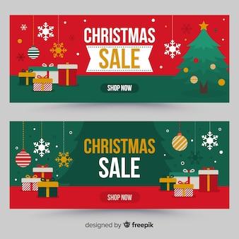 Banner rebajas navidad regalos planos