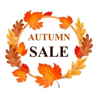 Banner de rebajas de otoño en acuarela con hojas de otoño