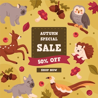 Banner de rebajas de otoño dibujado a mano