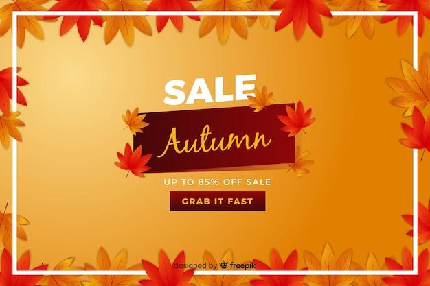 Banner de rebajas de otoño en diseño plano