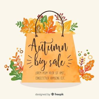 Banner de rebajas de otoño estilo acuarela