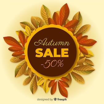 Banner de rebajas de otoño estilo realista