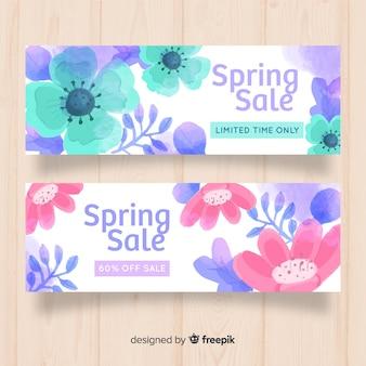 Banner de rebajas de primavera en acuarela