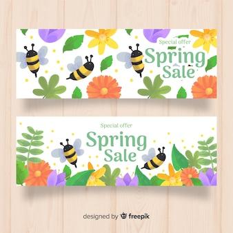 Banner rebajas primavera dibujado a mano
