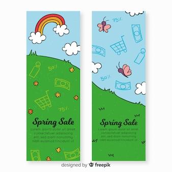 Banner de rebajas de primavera dibujado a mano