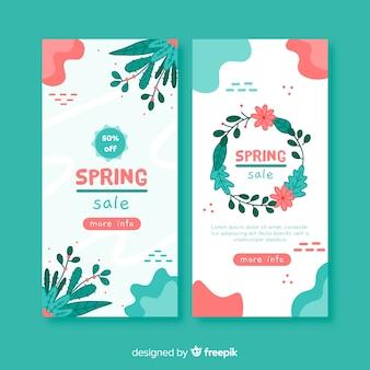 Banner rebajas primavera dibujos animados