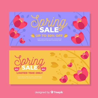 Banner de rebajas de primavera en diseño plano
