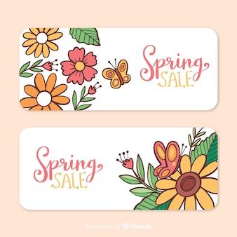 Banner rebajas primavera floral dibujado a mano