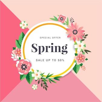 Banner de rebajas de primavera con flores de papel