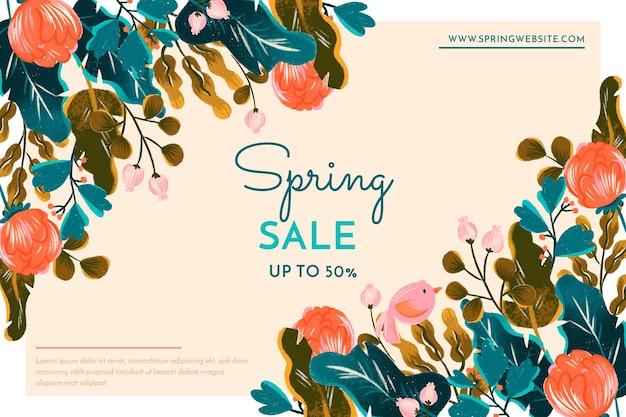 Banner de rebajas de primavera con flores