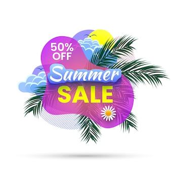 Banner de rebajas de verano, 50% de descuento. fondo tropical con ramas de palma, sol y nubes. ilustración.