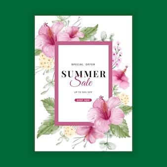 Banner de rebajas de verano con acuarela de flor de hibisco