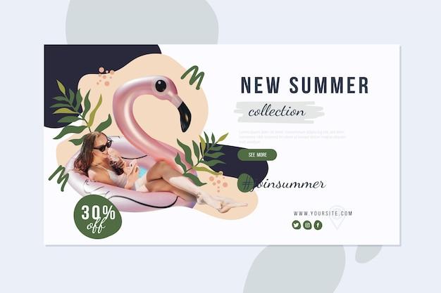 Banner de rebajas de verano dibujado a mano con foto