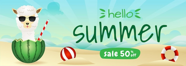 Banner de rebajas de verano con una linda alpaca en la sandía.