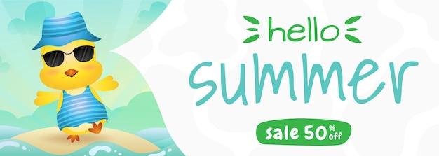 Banner de rebajas de verano con una linda chica con disfraz de verano.