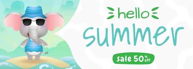 Banner de rebajas de verano con un lindo elefante con disfraz de verano.
