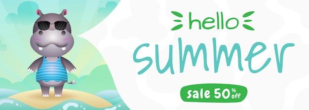Banner de rebajas de verano con un lindo hipopótamo con disfraz de verano.