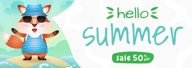 Banner de rebajas de verano con un lindo zorro con disfraz de verano.