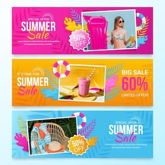 Banner de rebajas de verano plano con foto