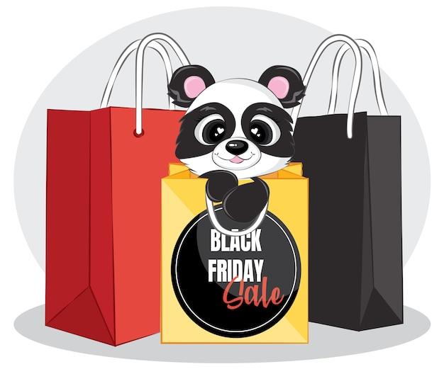 Banner de rebajas de viernes negro con panda negro y bolsa de compras