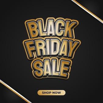 Banner de rebajas de viernes negro con texto dorado 3d