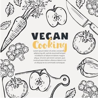 Banner de recetas saludables vegetarianas con verduras en un tazón, una sartén con sopa y utensilios de cocina sobre una superficie de madera