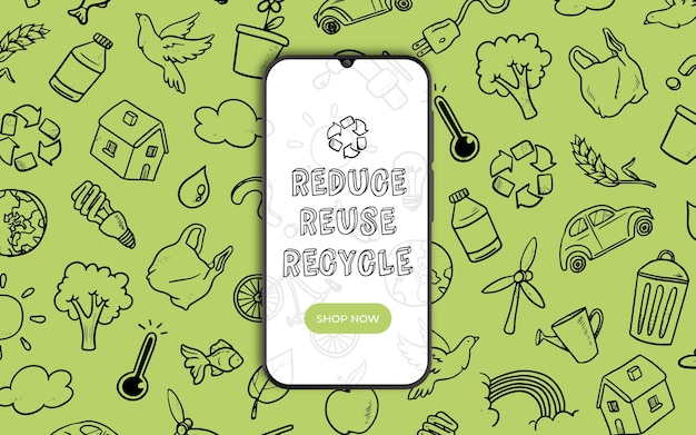 Banner para reciclaje con smarthphone